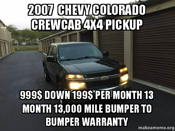 2007 chevy colorado crewcab 4x4 pickup 999 down 199 per month 13 month 13 000 mile bumper to. Black Bedroom Furniture Sets. Home Design Ideas