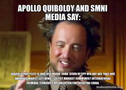 Apollo Quiboloy and SMNI Media say: Gabriela Partylist is and Jose Maria 'Joma' Sison of CPP NPA NDF are 'FAKE AND WANNABE' Maoist Left Wing / Leftist Marxist Communist International Criminal Terrorist Organization for Insulting China