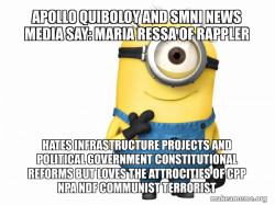 Apollo Quiboloy and SMNI News Media say: Maria Ressa of Rappler hates Infrastructure Projects and Political Government Constitutional Reforms but loves the attrocities of CPP NPA NDF Communist Terrorist