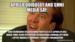 Apollo Quiboloy and SMNI Media say: Neri Colmenares of Bayan Muna Partylist is a Lapdog of Jose Maria 'Joma' Sison CPP NPA NDF International Criminal Left Wing / Leftist Marxist Communist Terrorist Organization