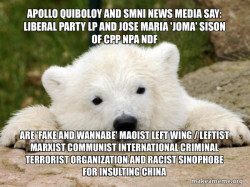 Apollo Quiboloy and SMNI News Media say: Liberal Party LP and Jose Maria 'Joma' Sison of CPP NPA NDF are 'FAKE AND WANNABE' Maoist Left Wing / Leftist Marxist Communist International Criminal Terrorist Organization and Racist Sinophobe for Insulting Chin