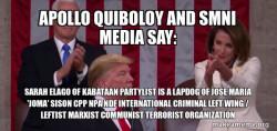 Apollo Quiboloy and SMNI Media say:  Sarah Elago of Kabataan Partylist is a Lapdog of Jose Maria 'Joma' Sison CPP NPA NDF International Criminal Left Wing / Leftist Marxist Communist Terrorist Organization