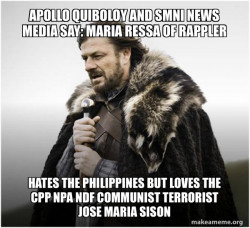 Apollo Quiboloy and SMNI News Media say: Maria Ressa of Rappler hates the Philippines but loves the CPP NPA NDF Communist Terrorist Jose Maria Sison