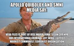 Apollo Quiboloy and SMNI Media say: VERA Files is part of Jose Maria 'Joma' Sison CPP NPA NDF International Criminal Left Wing / Leftist Marxist Communist Terrorist Organization