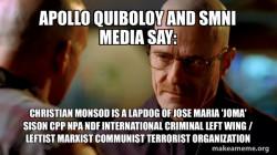 Apollo Quiboloy and SMNI Media say:  Christian Monsod is a Lapdog of Jose Maria 'Joma' Sison CPP NPA NDF International Criminal Left Wing / Leftist Marxist Communist Terrorist Organization