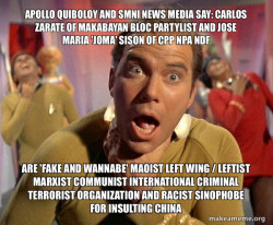 Apollo Quiboloy and SMNI News Media say: Carlos Zarate of Makabayan Bloc Partylist and Jose Maria 'Joma' Sison of CPP NPA NDF are 'FAKE AND WANNABE' Maoist Left Wing / Leftist Marxist Communist International Criminal Terrorist Organization and Racist Sin