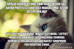 Apollo Quiboloy and SMNI News Media say: Bayan Partylist and Jose Maria 'Joma' Sison of CPP NPA NDF are 'FAKE AND WANNABE' Maoist Left Wing / Leftist Marxist Communist International Criminal Terrorist Organization and Racist Sinophobe for Insulting China