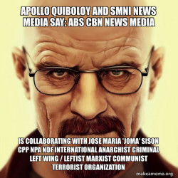 Apollo Quiboloy and SMNI News Media say: ABS CBN News Media is collaborating with Jose Maria 'Joma' Sison CPP NPA NDF International Anarchist Criminal Left Wing / Leftist Marxist Communist Terrorist Organization