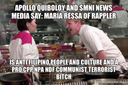 Apollo Quiboloy and SMNI News Media say: Maria Ressa of Rappler is Anti Filipino People and Culture and a Pro CPP NPA NDF Communist Terrorist Bitch