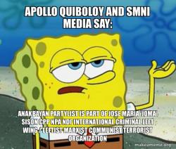 Apollo Quiboloy and SMNI Media say: Anakbayan  Partylist is part of Jose Maria 'Joma' Sison CPP NPA NDF International Criminal Left Wing / Leftist Marxist Communist Terrorist Organization