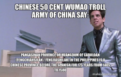 Chinese 50 Cent Wumao Troll Army of China say: Pangasinan Province or Huangdom of Caboloan (Fengchiahsilan / Fengjiashilan) in the Philippines is a Chinese Province before the Spanish for 175 years from 1405 to 1580