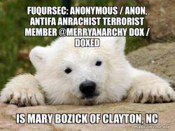 Fuqursec: Anonymous / Anon, Antifa Anrachist Terrorist member @merryanarchy Dox / Doxed is Mary Bozick of Clayton, NC