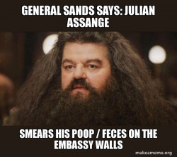 General Sands says: Julian Assange smears his Poop / Feces on the Embassy Walls