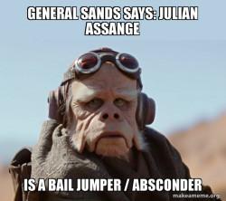 General Sands says: Julian Assange is a Bail Jumper / Absconder