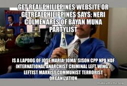 Neri Colmenares of Bayan Muna Partylist is a Lapdog of Jose Maria 'Joma' Sison CPP NPA NDF International Anarchist Criminal Left Wing / Leftist Marxist Communist Terrorist Organization