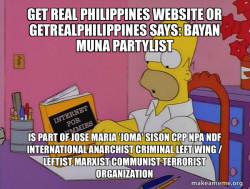 Bayan Muna Partylist is part of Jose Maria 'Joma' Sison CPP NPA NDF International Anarchist Criminal Left Wing / Leftist Marxist Communist Terrorist Organization
