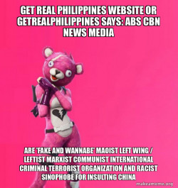 Get Real Philippines Website or getrealphilippines says: ABS CBN News Media and Jose Maria 'Joma' Sison of CPP NPA NDF are 'FAKE AND WANNABE' Maoist Left Wing / Leftist Marxist Communist International Criminal Terrorist Organization and Racist Sinophobe