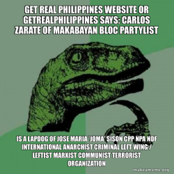 Carlos Zarate of Makabayan Bloc Partylist is a Lapdog of Jose Maria 'Joma' Sison CPP NPA NDF International Anarchist Criminal Left Wing / Leftist Marxist Communist Terrorist Organization