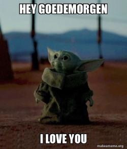 Baby Yoda zegt hoi