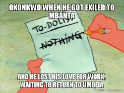 OKONKWO RESTARTS HIS LIFE