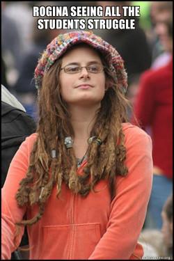 Female College Liberal - Bad Argument Hippie