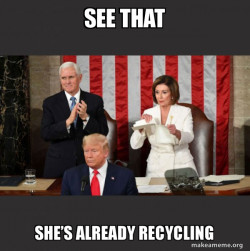 Nancy Pelosi ripping Trump's speech up