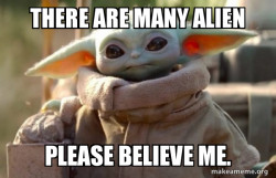 Baby Yoda looking at you