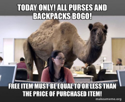 Hump Day Special! Buy one purse or backpack, get one free!