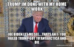 Donald Trump doing homework