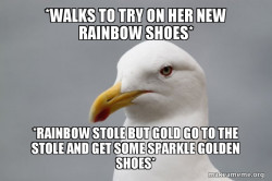 Gold dont care about her rainbow shoes
