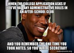 College Application Meme