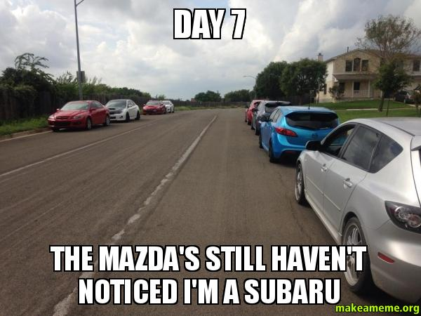 Day 7 The h0tgad day 7 the mazda's still haven't noticed i'm a subaru make a meme