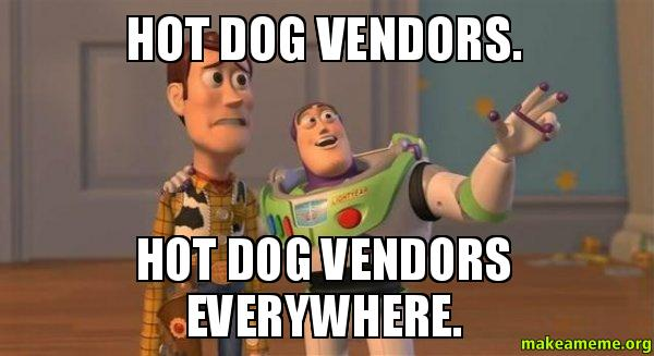 ... dog vendors everywhere. - Buzz and Woody (Toy Story) Meme | Make a