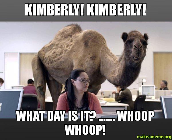 Kimberly Kimberly What kimberly! kimberly! what day is it? whoop whoop! hump,Kimberly Memes