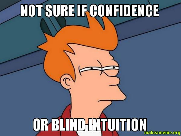 NOT SURE IF CONFIDENCE OR BLIND INTUITION - | Make a Meme