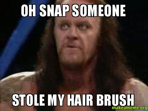 OH snap someone oh snap someone stole my hair brush make a meme