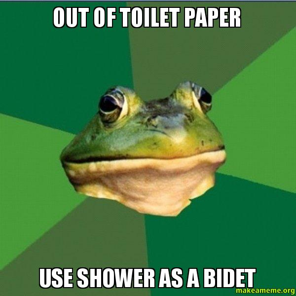 Out Of Toilet Paper Use Shower As A Bidet Make A Meme