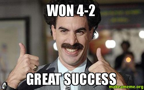 Won 42 Great won 4 2 great success football borat make a meme