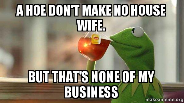 The Best Of The That S None Of My Business Kermit Meme: A Hoe Don't Make No House Wife. But That's None Of My