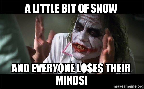 a little bit 0aduns a little bit of snow and everyone loses their minds! everyone
