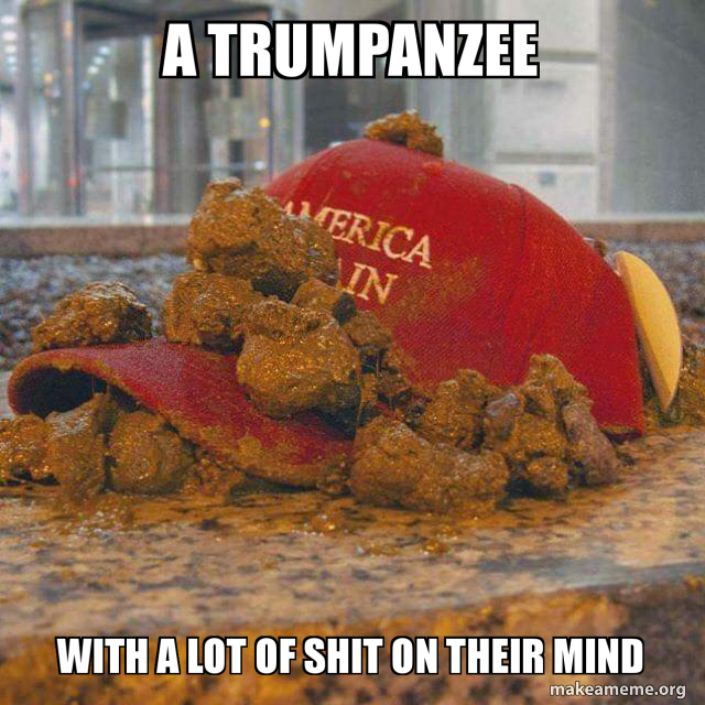 A trumpanzee With a lot of shit on their mind | Make a Meme