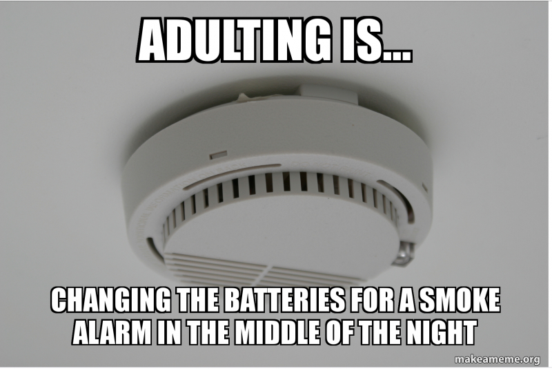 Adulting Is Changing The Batteries For A Smoke Alarm In The