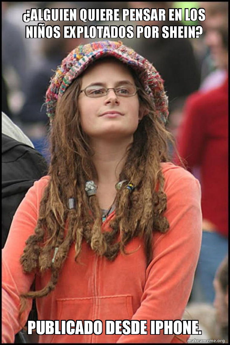 Female College Liberal - Bad Argument Hippie meme