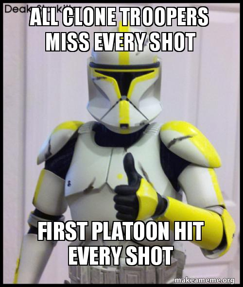 ALL CLONE TROOPERS MISS EVERY SHOT FIRST PLATOON HIT EVERY SHOT