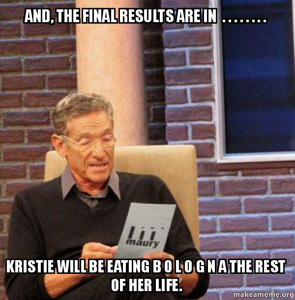 and the final phz5ix and, the final results are in kristie will be,Kristie Meme