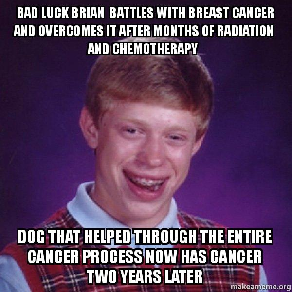 bad luck brian battles with breast cancer and overcomes it after months of radiation and