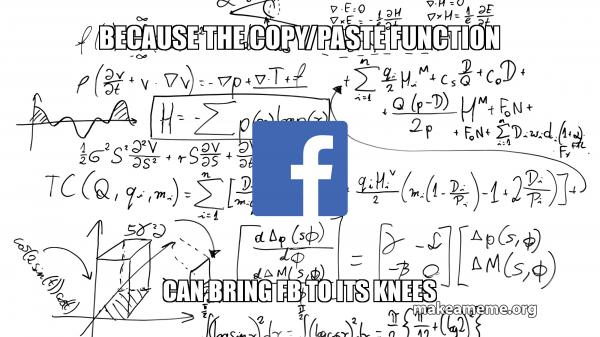 Because the Copy/Paste Function Can bring FB to its knees | Make a Meme