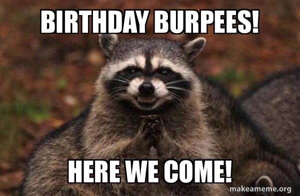 Birthday Burpees! Here we Come! - Evil Plotting Raccoon | Make a Meme