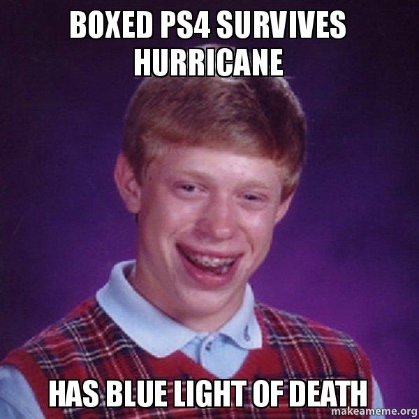 Boxed PS4 survives hurricane Has blue light of death