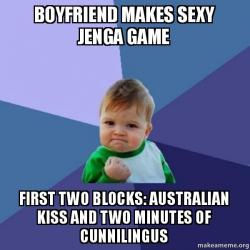 Boyfriend makes sexy Jenga game First two blocks: Australian